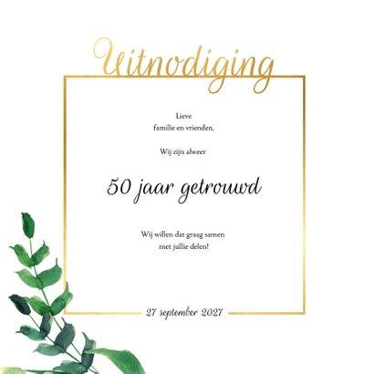 Jubileumkaart vierkant Stijlvol wit met goud 2
