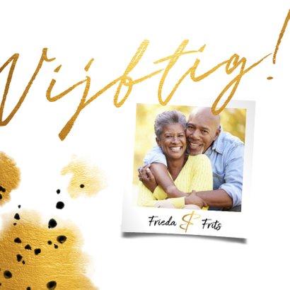 Jubileumkaart 'vijftig' met polaroid en gouden waterverf 2