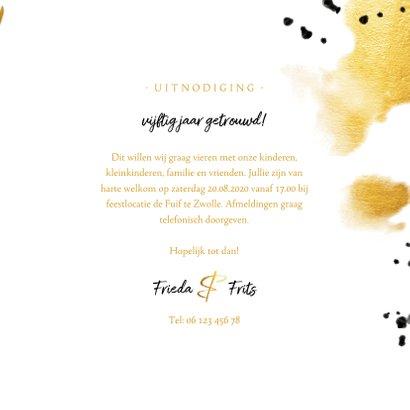 Jubileumkaart 'vijftig' met polaroid en gouden waterverf 3