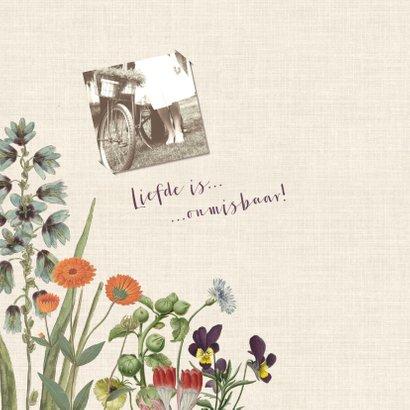 Jubileumkaart voor huwelijk met vintage bloemen  2