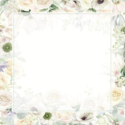 Jubileumkaart witte rozen en anemonen Achterkant