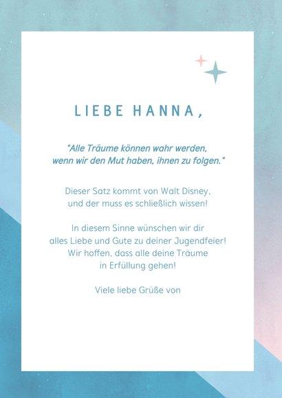 Jugendweihe Glückwunschkarte 'Follow your dreams' 3