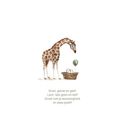 Jungle geboortekaartje giraf mandje met groene ballon 2