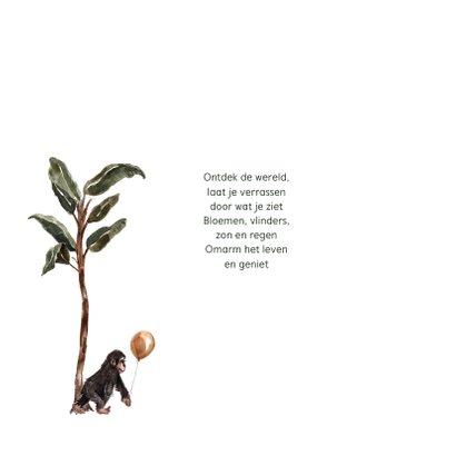 Jungle geboortekaartje giraffe neushoorn aapjes 2