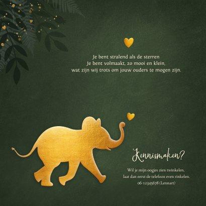 Jungle geboortekaartje jongen met gouden silhouet olifant 2