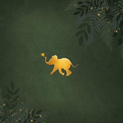 Jungle geboortekaartje jongen met gouden silhouet olifant Achterkant