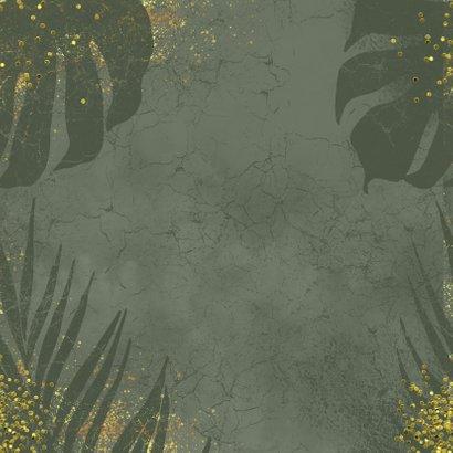 Jungle kerstkaart grunge en goudlook Achterkant