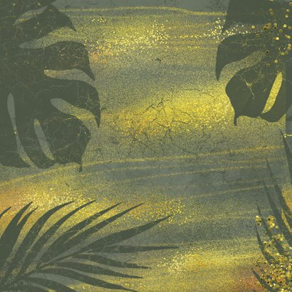 Jungle kerstkaart met goud en grunge Achterkant