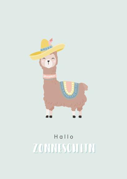 Kaart met getekende lama met een paraplu. In de kleur mint. 2