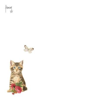 Kaart met kitten miauw een bloemetje voor jou 2