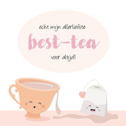 Kaart voor beste vriendin met een kopje thee 2