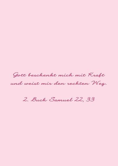 Karte Gratulation Taufe Kreuz klassisch rosa 2