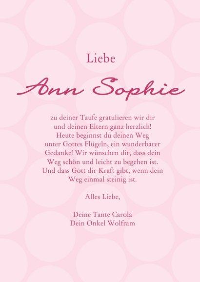 Karte Gratulation Taufe Kreuz klassisch rosa 3