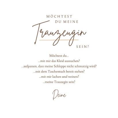 Karte Trauzeugin / Trauzeugen fragen feine Zweige 3