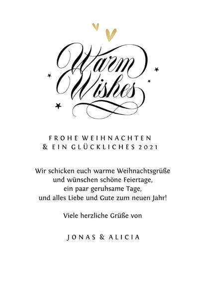 Karte Weihnachten mit Foto 'Warm wishes'  3