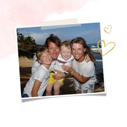 Karte zum Muttertag Wasserfarbe und Fotos in Herz 2