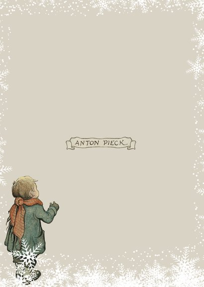 Kerkstkaart - Anton Pieck illustratie kindje voor etalage Achterkant