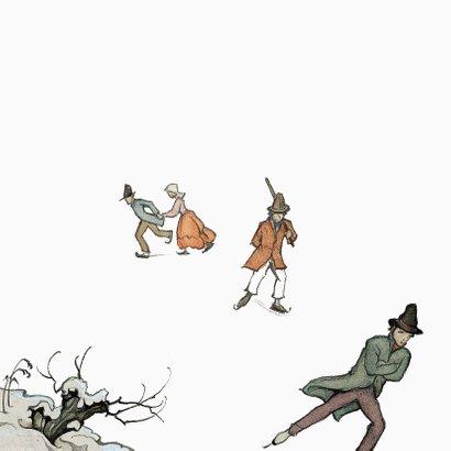 Kerkstkaart - Anton Pieck illustratie schaatsen Achterkant