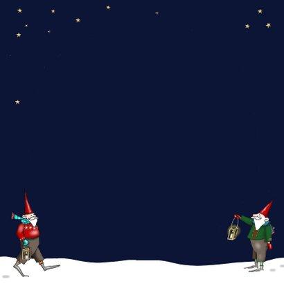 Kerskaart - kerstbal met kerstmannetje op de slee Achterkant