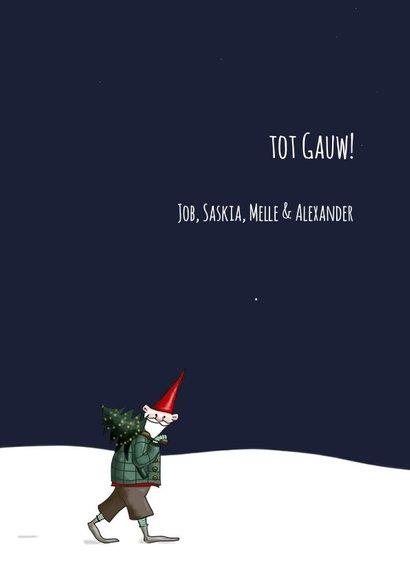 Kerskaart - kerstmannetje met lantaarn 3