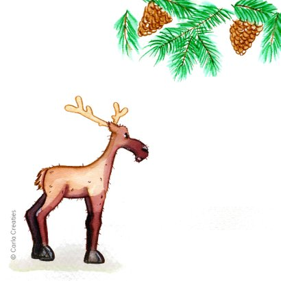 Kerskaarten Rendier Merry Christmas 2