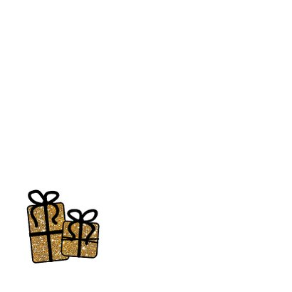 Kerst Cadeau-kaart goudkleurige glitter cadeautjes 2