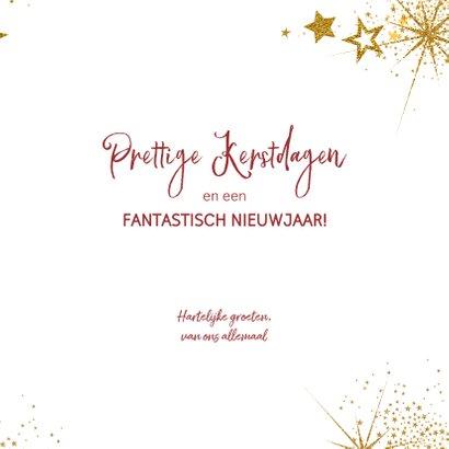 Kerst feestelijke rode foto kerstkaart gouden sterren 3