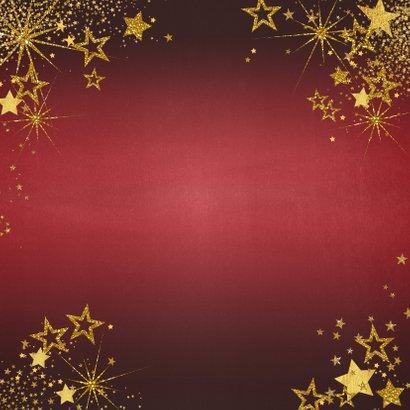 Kerst feestelijke rode foto kerstkaart gouden sterren Achterkant