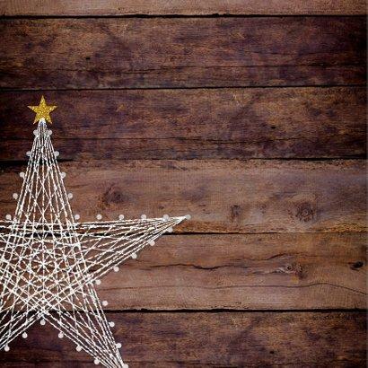 Kerst foto kaart hout met een ster van spijkers en touw 2