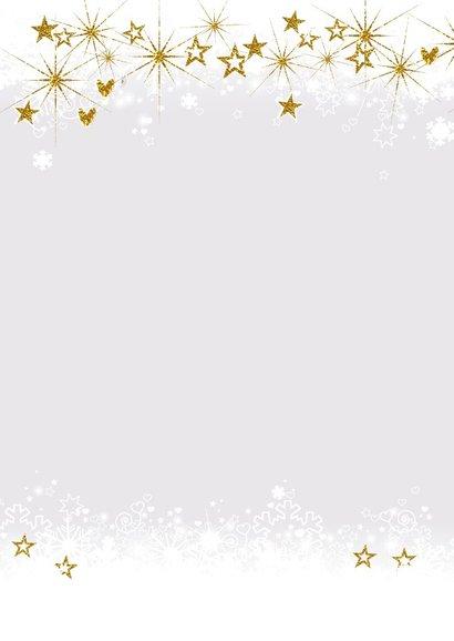 Kerst foto kaart met sneeuwkader en gouden versiersel 2