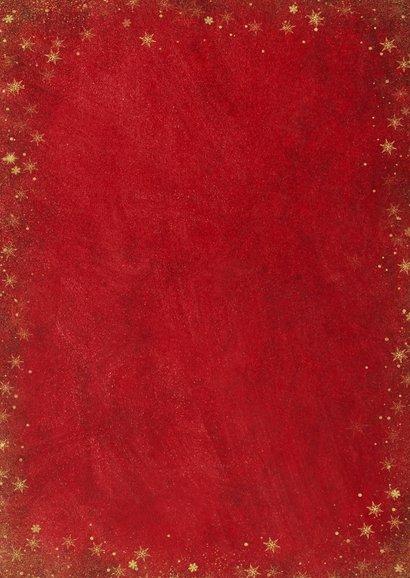 Kerst fotocollage kaart met rode achtergrond en sterren goud Achterkant