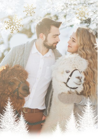Kerst fotokaart boompjes, sneeuwvlokken en 'Merry Christmas' 2