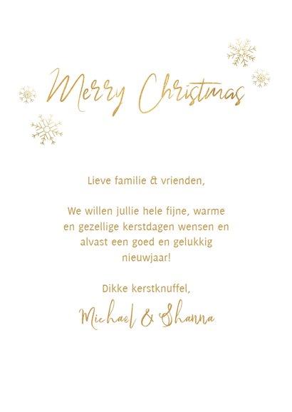 Kerst fotokaart boompjes, sneeuwvlokken en 'Merry Christmas' 3