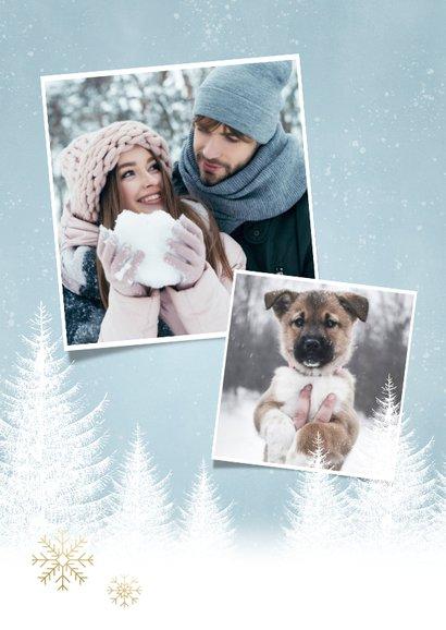 Kerst fotokaart sneeuwvlokken, bomen en 'Fijne Feestdagen' 2