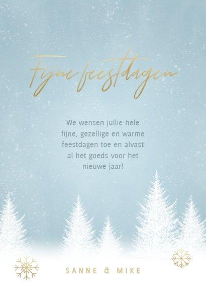 Kerst fotokaart sneeuwvlokken, bomen en 'Fijne Feestdagen' 3