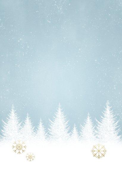 Kerst fotokaart sneeuwvlokken, bomen en 'Fijne Feestdagen' Achterkant