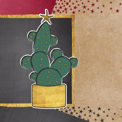 Kerst hippe foto kaart met cactus en sterren 2