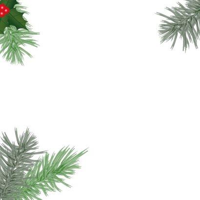 Kerst hippe fotokaart botanica hulst en dennentakken  2
