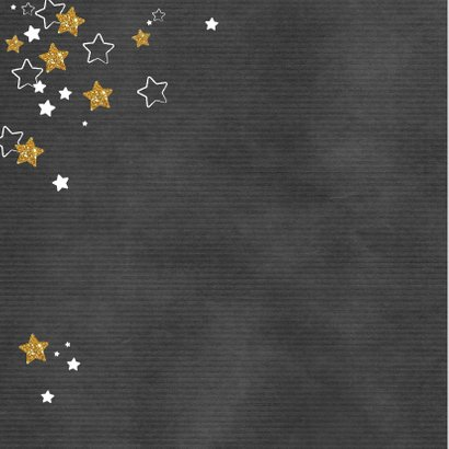 Kerst hippe grijze kaart met witte en gouden sterren en foto 2