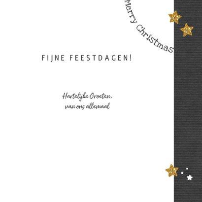 Kerst hippe grijze kaart met witte en gouden sterren en foto 3