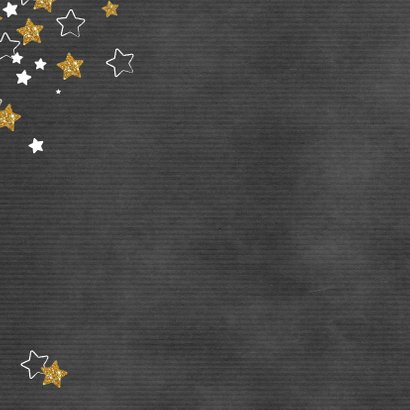 Kerst hippe grijze kaart met witte en gouden sterren en foto Achterkant