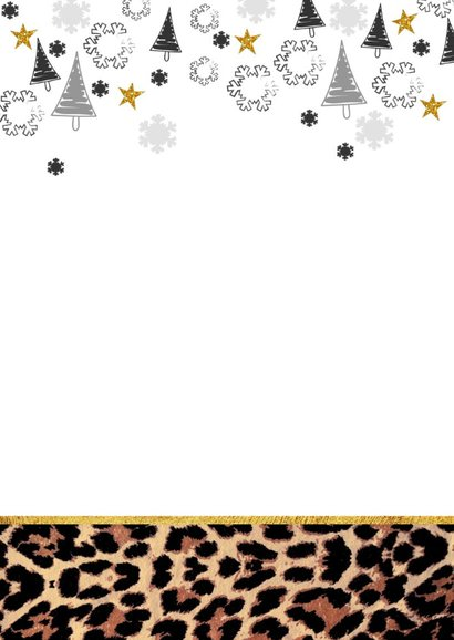 Kerst hippe kaart met panterprint en eigen foto 2