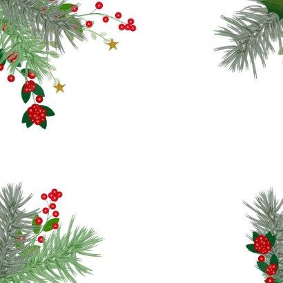 Kerst hippe kerstkaart botanica hulst en dennentakken 2