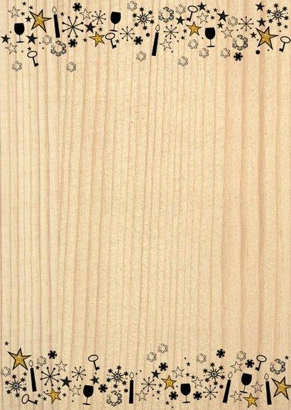 Kerst hippe verhuiskaart hout, rendier gewei en sterren 2