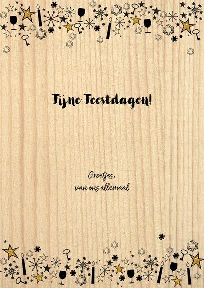 Kerst hippe verhuiskaart hout, rendier gewei en sterren 3