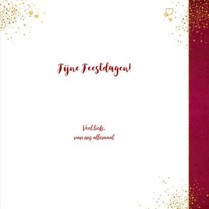 Kerst klassiek rode fotokaart gouden sterretjes en hartjes 3