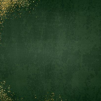 Kerst klassieke donker groene kaart met 3 kerstbomen Achterkant