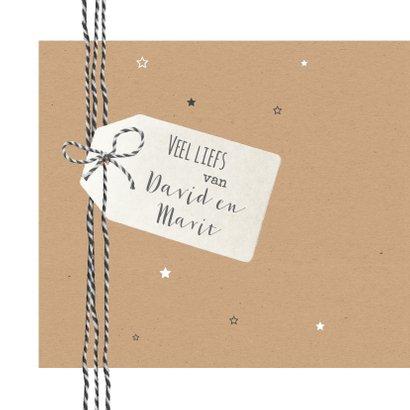 Kerst - Kraft met touw, label en sterren 2