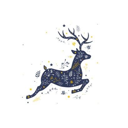 Kerst - Rendier met botanische illustraties 2