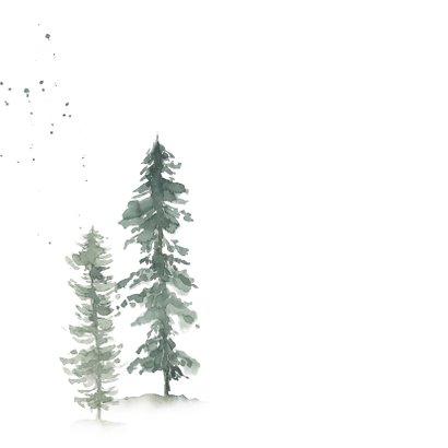 Kerst save the date kaart met waterverf dennenbomen 2